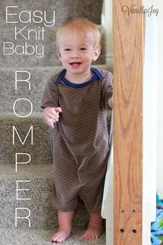 easy knit baby romper tutorial #se