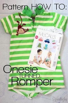 pattern alteration onesie to romper