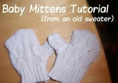 DIY baby mittens made from old swe