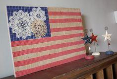 Burlap and Doily Flag