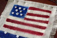 Button and Burlap Patriotic Welcome Decor