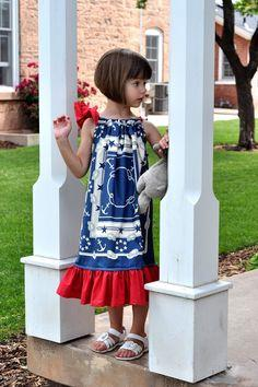 Sewing: Patriotic Pillowcase Dresses