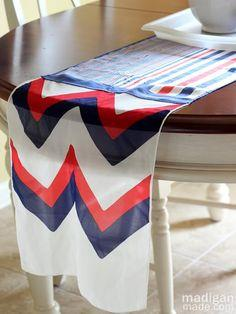 A Patriotic No-Sew Table Runner from Scarves