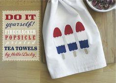 DIY FOURTH OF JULY TEA TOWELS