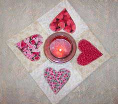 How to Make a Country Heart Applique Quilted Candle Mat