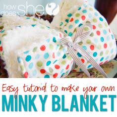 Cotton Print and Minky Baby Blanket