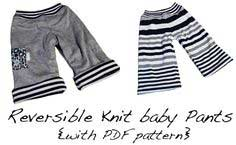 Reversible knit baby pants {with pdf pattern}