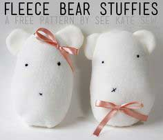 fleece bear stuffie pattern + tutorial