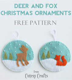 Felt Deer and Fox Christmas Ornaments