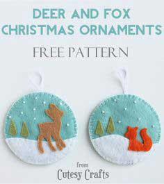 Felt Deer And Fox Christmas Ornaments