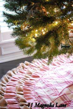 DIY Ruffled Burlap/Ticking Tree Skirt