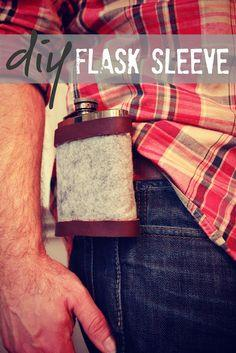 YS: No-Sew Leather & Wool Flask Sleeve {Shannon with Eat. Sleep. MAKE.}