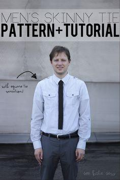 men's skinny + square tie pattern!