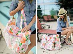 Oilcloth Pool Tote with Mesh Pockets
