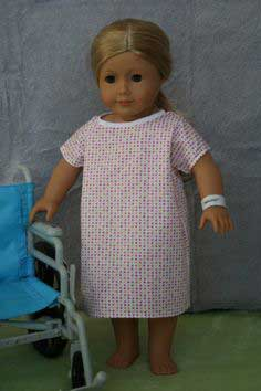Hospital Gown and wrist band for American Girl doll