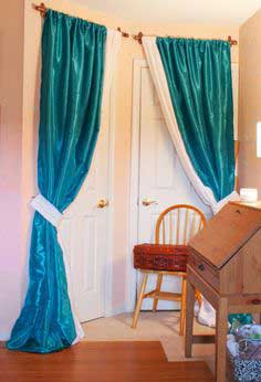 DIY Sewing Room Glam Up Series – Closet Door Drapes and Homemade Curtain Rods