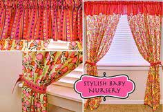 Stylish Baby Nursery: Flowery Curtains & Striped Valance