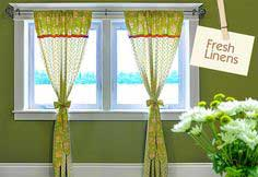 Fresh Linens: Apple Green Panel Curtains with Jelly Roll Accents & Tie-Backs