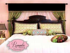 A Romantic Bedroom Retreat with Rowan & FreeSpirit Fabrics: Layered Bed Curtain Backdrop with Velvet Valance