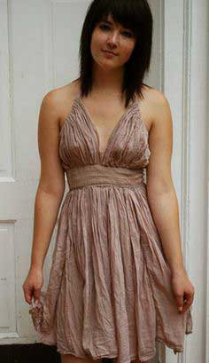 Lovely indie mauve gathered dress