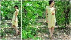 YELLOW GATHERED GRECIAN DRESS