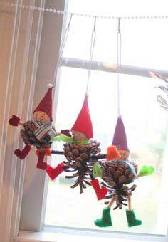 Elf and Owl Pinecone Ornaments