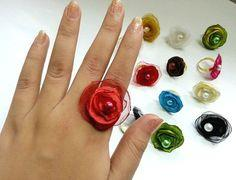 Fabric Flower Rings