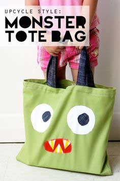 Upcycle Style: Monster Tote Bag from an Old Cushion Cover