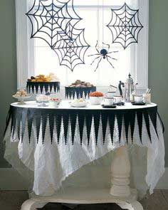 Tattered Halloween Tablecloth and Spiderweb Decor