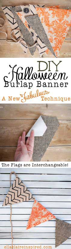 HALLOWEEN BURLAP BANNER TUTORIAL~ A NEW TECHNIQUE AND A BIG ANNOUNCEMENT