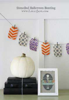 stenciled Halloween bunting