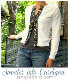 Sweater into Cardigan
