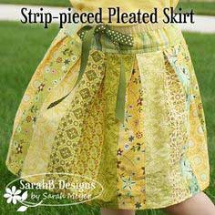 Strip-pieced Pleated Skirt