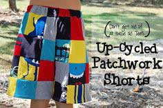Up-cycled Patchwork Shorts from Outgrown Tee's
