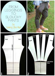 From leggings to slouchy pants. Easy pattern alteration