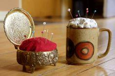 Make a Pin Cushion out of a Vintage Jewelry Box or Coffee
