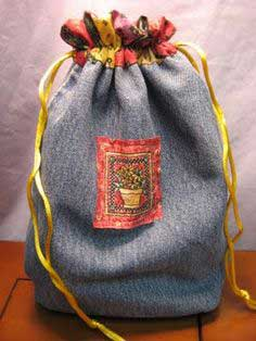 Recycled Jeans - A Drawstring Bag This Time!