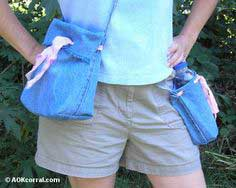 How To Projects ~ Recycle and Reuse ~ Shoulder Tote Bag and Water Bottle Holder