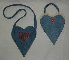 Recycled Denim Heart Purse