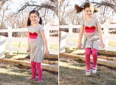 Ruffled Heart Valentine Dress (Made from recycled Tshirts)