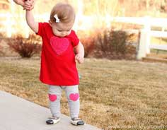 Shaggy Heart Valentine's Dress with Heart Knee-Pad leggings (made from recycled Tshirts)