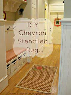 DIY Chevron Stenciled Rug... { Tutorial }