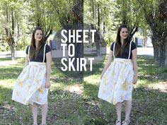 floral sheet to high-waisted skirt with suspenders