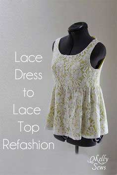Lace Dress to Shirt Refashion Tutorial