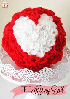 Ruffled Felt Heart Kissing Ball (Valentine Craft Idea)