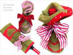 ScrapBusters: Heart-Themed Tall Wine Bags in Burlap & Cotton