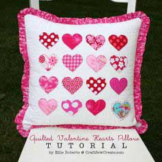 Quilted Valentine Hearts Pillow Tutorial