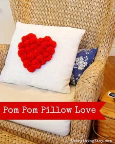Pom Pom Heart Pillow {DIY Decor}