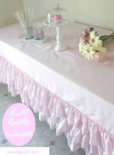 {DIY} How to Make a No Sew Ruffle Tablecloth for Less than $10