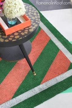 diy painted astroturf rug, floorin